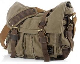 Bolsa Masculina SC Cotton - Lona de Algodão e Couro Grande - 40cm - Importada